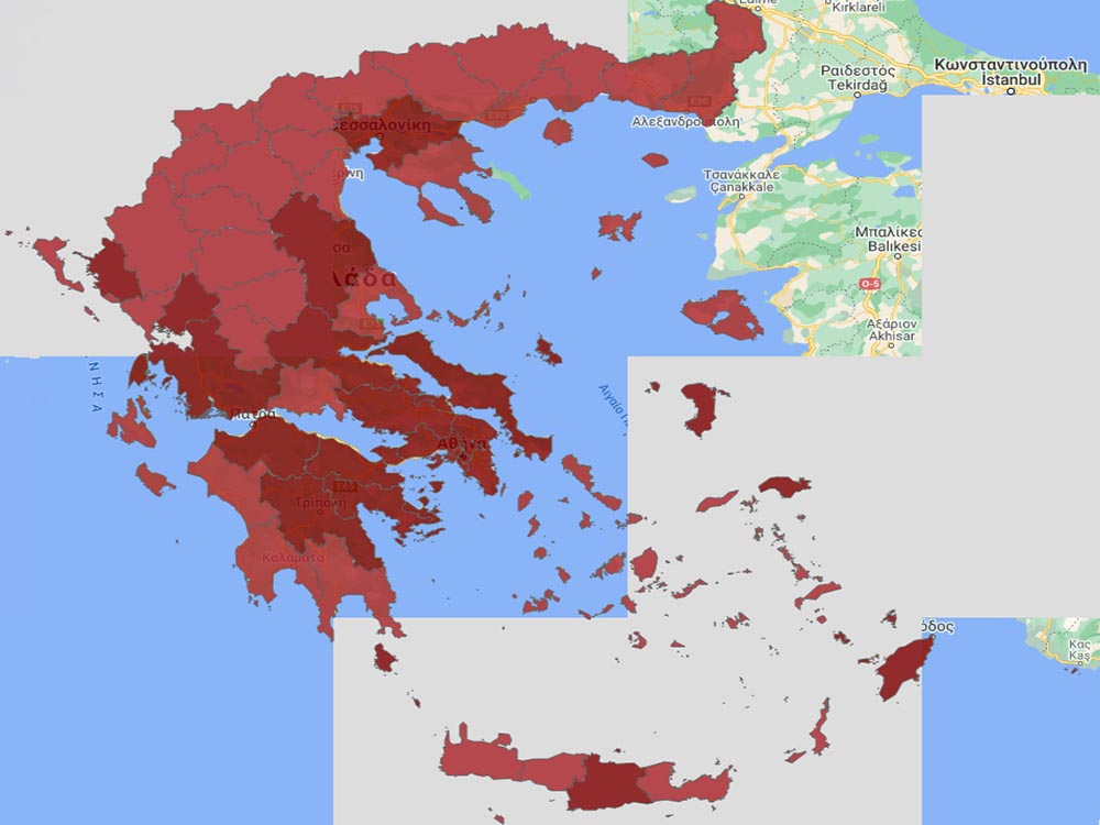 Αργολίδα,Κορινθία,Αρκαδία, παραμένουν στο βαθύ κόκκινο